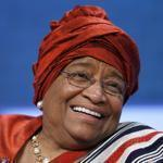 Liberian President Ellen Johnson-Sirleaf at a plenary session on empowering girls and women during the Clinton Global Initiative in New York.
